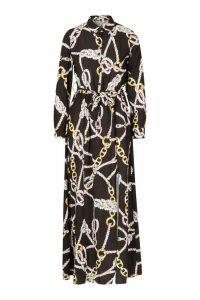 Womens Woven Chain Print Tie Belt Midi Dress - black - 16, Black