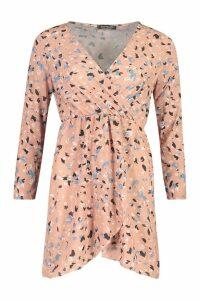 Womens Woven Wrap Skater Dress - pink - 12, Pink