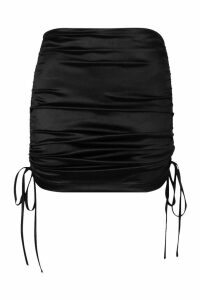 Womens Ruched Stretch Satin Mini Skirt - black - 8, Black