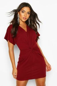 Womens Crepe Twist Front Mini Dress - Red - 8, Red
