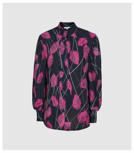 Reiss Lily - Feather Printed Blouse in Pink, Womens, Size 16