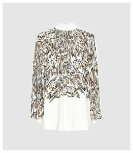 Reiss Magda Print - Feather Printed Turtle Neck Top in White, Womens, Size 16