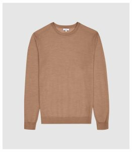 Reiss Wessex - Merino Wool Jumper in Camel, Mens, Size XXL