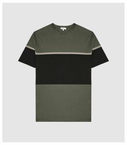 Reiss Block - Mercerised Colour Block T-shirt in Sage, Mens, Size XXL