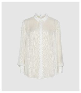 Reiss Lucinda - Silk Blend Burnout Pattern Blouse in Ivory, Womens, Size 16