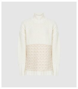 Reiss Emma - Chunky Ribbed Jumper in Neutral, Womens, Size XXL