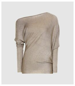 Reiss Isla - Metallic Asymmetric Top in Silver, Womens, Size XXL