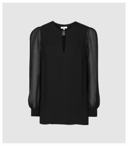 Reiss Rhea - Metal Trim Blouse in Black, Womens, Size 14