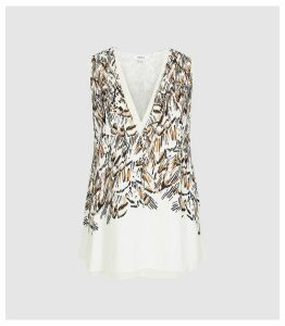 Reiss Merlyn - Feather Print V-neck Top in White, Womens, Size 16
