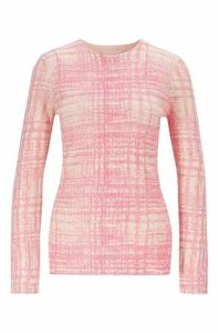 Printed sweater in ribbed virgin wool