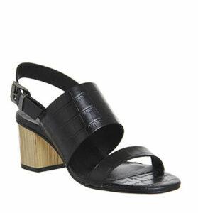 Office Meadow Block Heel Slingback Sandals BLACK CROC LEATHER