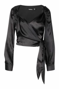 Womens Satin Knot Wrap Blouse - black - 14, Black