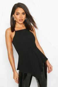 Womens Crepe Tie Front Asymmetric Top - black - 16, Black