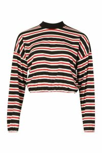 Womens High Neck Striped Long Sleeve Top - red - 16, Red