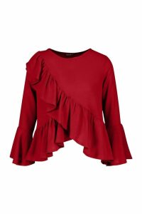 Womens Ruffle Flute Sleeve Smock Top - red - 6, Red