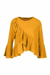 Womens Ruffle Flute Sleeve Smock Top - yellow - 14, Yellow