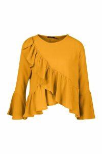 Womens Ruffle Flute Sleeve Smock Top - yellow - 6, Yellow