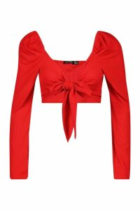 Womens Puff Shoulder Tie Front Top - red - 12, Red