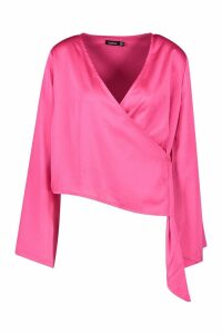 Womens Satin Wrap Flared Sleeve Blouse - Pink - 14, Pink