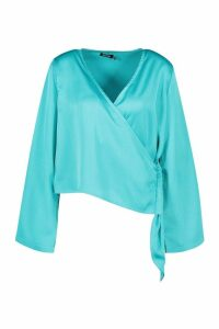 Womens Satin Wrap Flared Sleeve Blouse - blue - 14, Blue