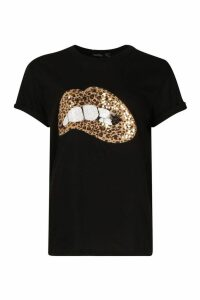 Womens Sequin Lip Print T-Shirt - black - 8, Black