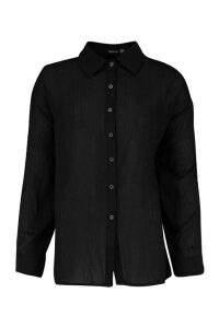 Womens Shirred Oversized Shirt - black - 10, Black