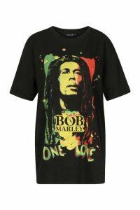 Womens Bob Marley Oversized Licensed T-Shirt - black - S, Black