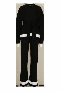 Womens Cardigan & Wide Leg Trouser Knitted Set - black - M, Black