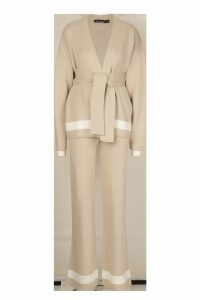 Womens Cardigan & Wide Leg Trouser Knitted Set - beige - M, Beige