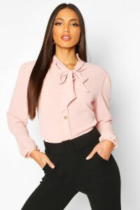 Womens Pussybow Button Through Volume Sleeve Blouse - pink - 8, Pink