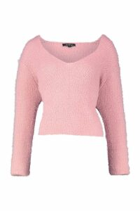 Womens Soft Touch V Neck Jumper - pink - L, Pink