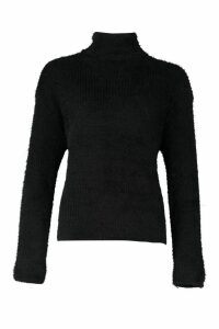 Womens Soft Knit Roll Neck Jumper - black - M, Black
