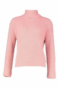Womens Soft Knit Roll Neck Jumper - pink - L, Pink