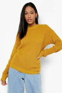 Womens Tall Waffle Knit Jumper - yellow - M, Yellow