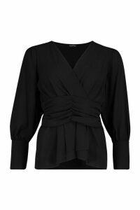 Womens Volume Sleeve Wrap Ruched Waist Blouse - black - 10, Black