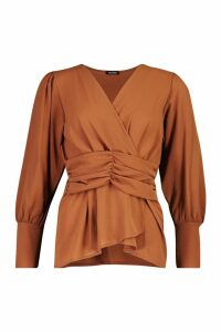 Womens Volume Sleeve Wrap Ruched Waist Blouse - orange - 8, Orange