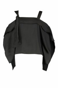Womens Satin Knot Detail Cold Shoulder Top - black - 8, Black