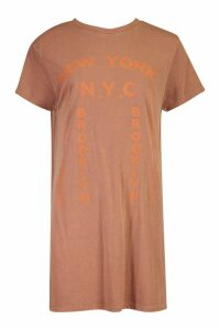 Womens Tonal Printed Washed T-Shirt Dress - brown - 16, Brown
