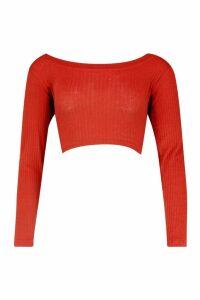 Womens Rib Scoop Neck Long Sleeve Crop Top - orange - 14, Orange