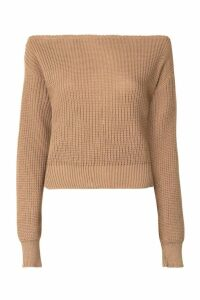 Womens Tall Slash Neck Crop Fisherman Jumper - beige - S, Beige