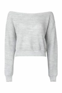 Womens Tall Slash Neck Crop Fisherman Jumper - grey - L, Grey