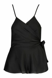 Womens Wrap Front Satin Cami - black - 14, Black