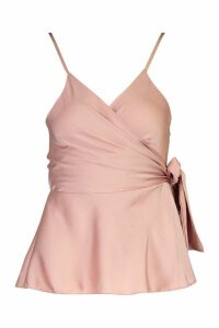Womens Wrap Front Satin Cami - pink - 14, Pink