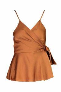 Womens Wrap Front Satin Cami - orange - 14, Orange