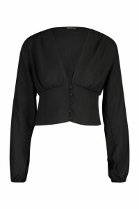 Womens Volume Sleeve Button Detail Woven Blouse - black - 14, Black
