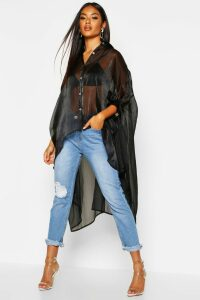 Womens Oversized Organza Maxi Shirt - black - 6, Black