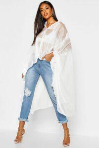 Womens Oversized Organza Maxi Shirt - white - 6, White