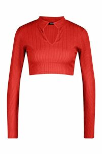 Womens Deep Notch Cropped Long Sleeve Top - Red - 10, Red