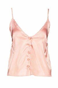 Womens Satin Button Through Cami - pink - 14, Pink