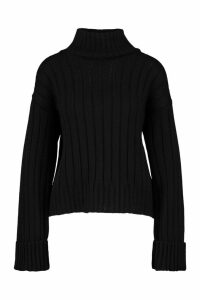 Womens Tall Wide Rib Turn Up Cuff Jumper - Black - M, Black